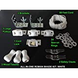 All-in-One ROMAN SHADE HARDWARE KIT, in White (for making shades up to 48 inch)