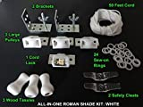 All-in-One ROMAN SHADE HARDWARE KIT, in White (cord lock, pulleys, cord, brackets, cleats, rings)