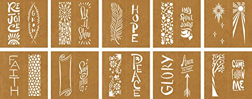 20 Reusable Faith Stencils Faber-Castell Mixed Media Paper Stencils 302 Collection