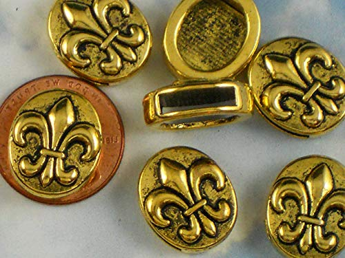 - Bulk 30 Slider Fleur de Lis Slotted Oval Coin Beads Antiqued Gold Tone Vintage Crafting Pendant Jewelry Making Supplies - DIY for Necklace Bracelet Accessories by CharmingSS