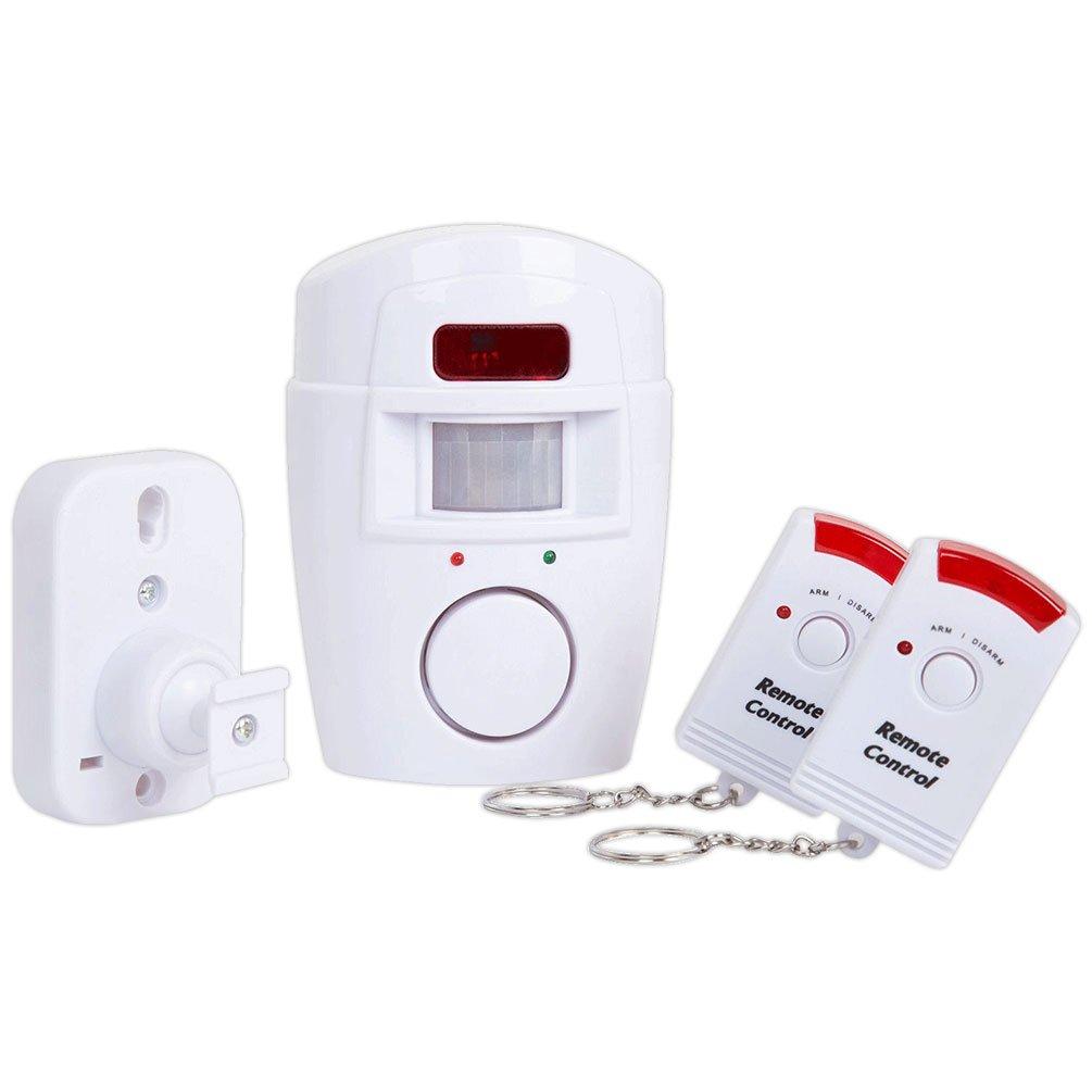 4VWIN Sensor de movimiento inalámbrico, con alarma, 2 mandos a distancia, Prevención de la delincuencia, para puerta delantera/trasera garaje cobertizo, construcciones exteriores, caravanas y autocaravanas