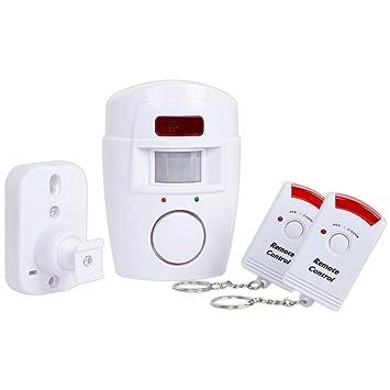 4VWIN Sensor de movimiento inalámbrico, con alarma, 2 mandos a distancia, Prevención de la delincuencia, para puerta delantera/trasera garaje ...
