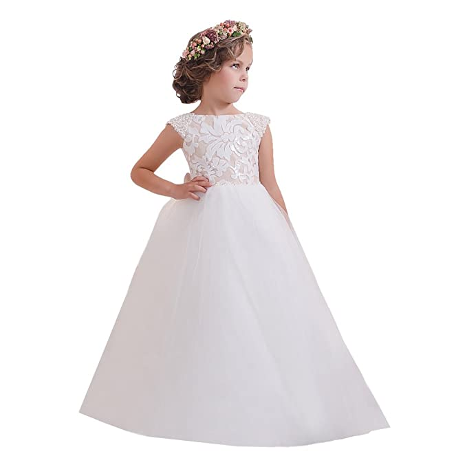 Pearls Beaded Cap Sleeves Kids Prom Dresses 2-12 Year Old Picture ...