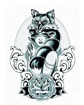 Tatouage Halloween Pour Adultes Belle Dame De Loup Noir Et Blanc