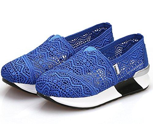 Dadawen Femmes Chaussures De Sport Casual Slip On Mesh Chaussures De Marche Respirant Chaussures De Course Bleu