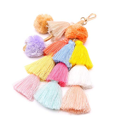 Colorful Boho Pompoms Tassel Bag Charm Summer Straw Bag Key Chain by Caissip (Image #3)