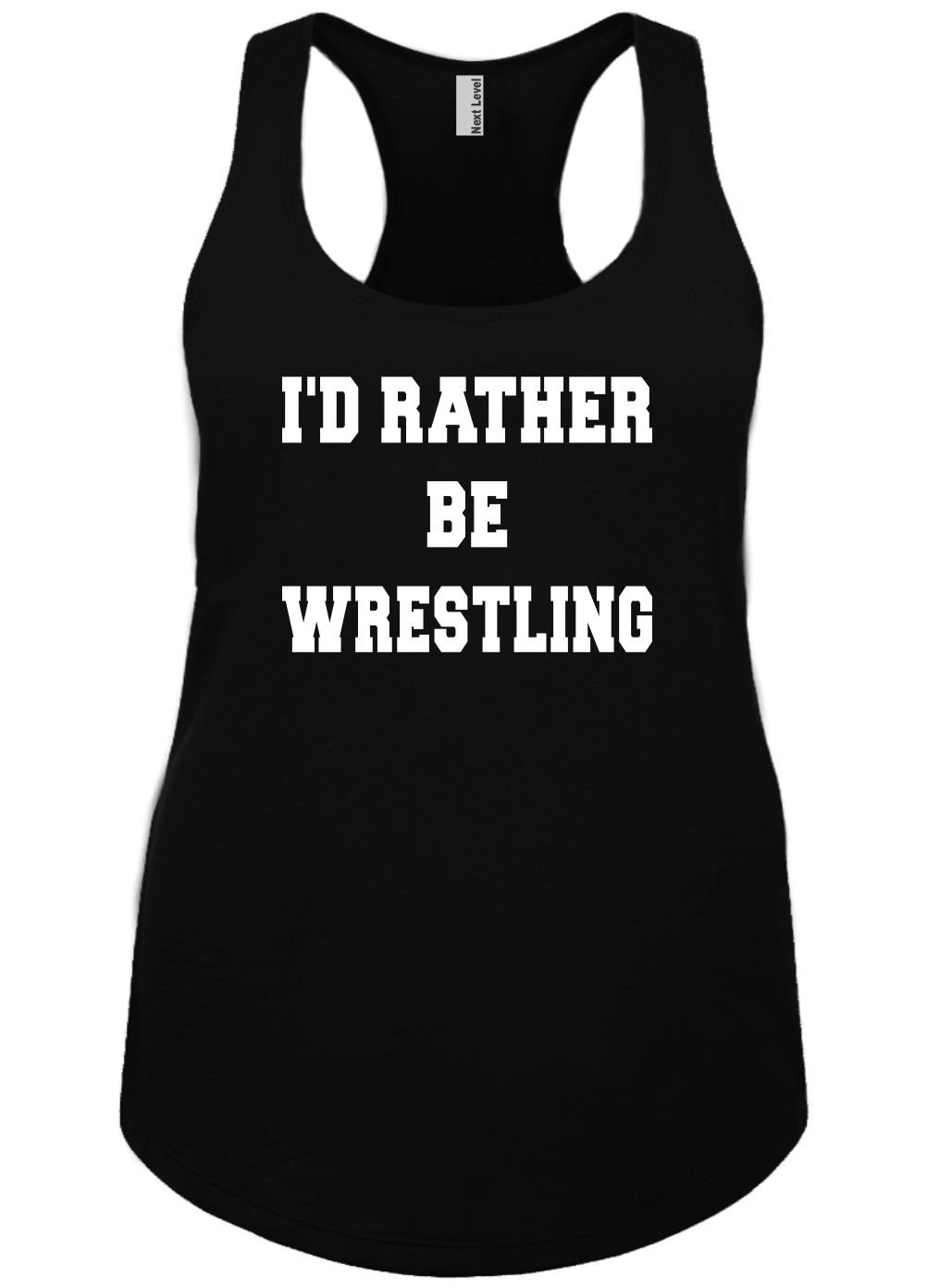 Mighty Ambitious Ladies Funny Tank Top ID Rather Be Wrestling 2X