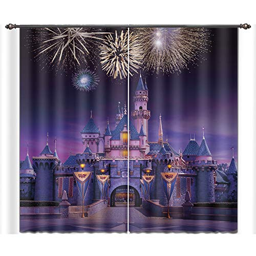 LB City Scenery Window Curtains for Bedroom Living Room,Fairy Tale Castle Firework Night Modern Decor Room Darkening 3D Blackout Curtains Drapes 2 Panels,52 x 84 inches