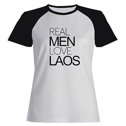 Idakoos Real men love Laos - Paesi - Maglietta Raglan Donna