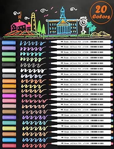 New 20 Assorted Color Metallic Marker Pens, Sheen Glitter Painting Pen Card Making,Birthday Greeting, DIY Photo Album,Scrap Booking,Rock Painting,Mug,Calligraphy,Valentine's Day Cards (Brush Tip) (Sheen Finish Metallic)