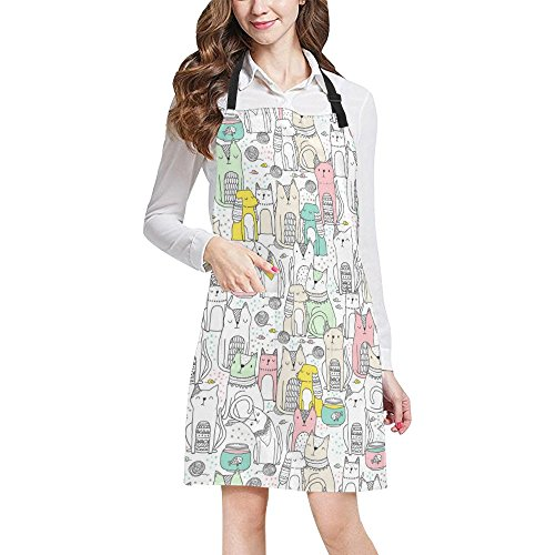 Spaniel Bbq Apron - InterestPrint Hipster Funny Animals Cats and Spaniel Dogs Unisex Adjustable Bib Apron with Pockets for Women Men Girls Chef for Cooking Baking Gardening Crafting, Large Size