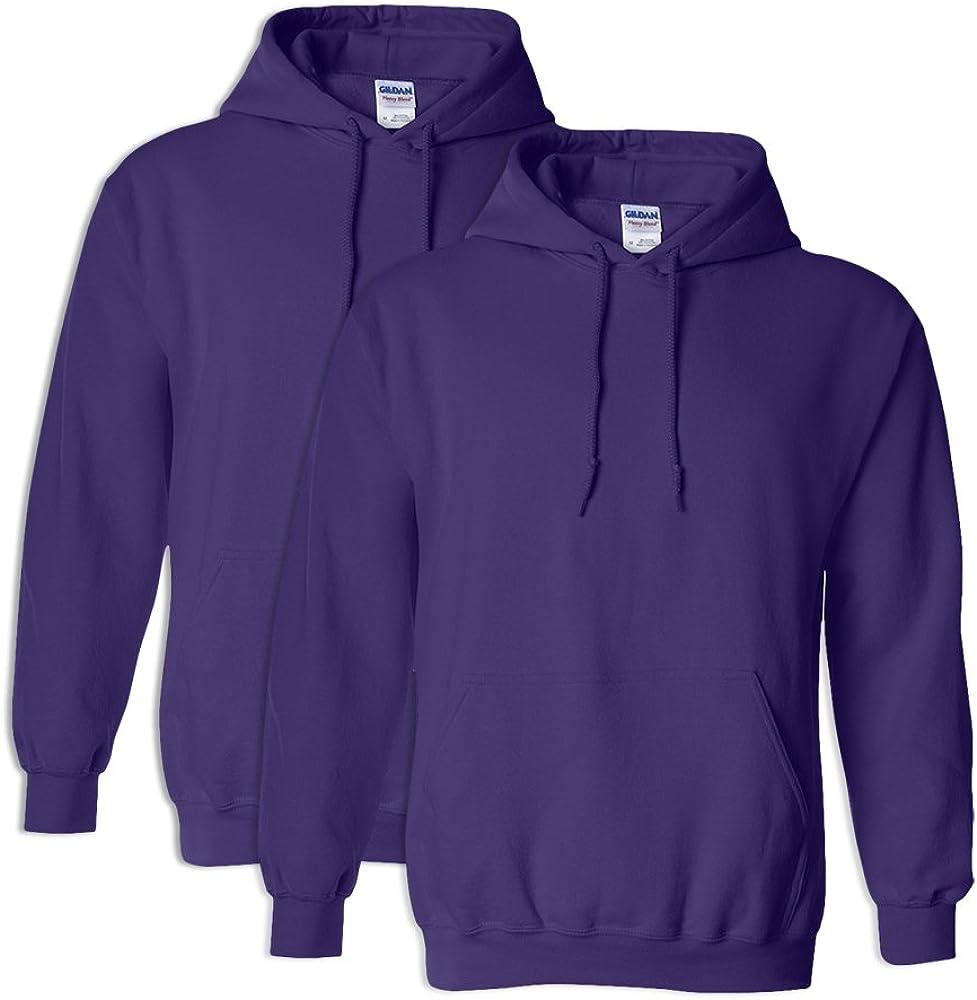 Gildan G18500 Heavy Blend Adult Unisex Hooded Sweatshirt 3XL Purple 2 Pack