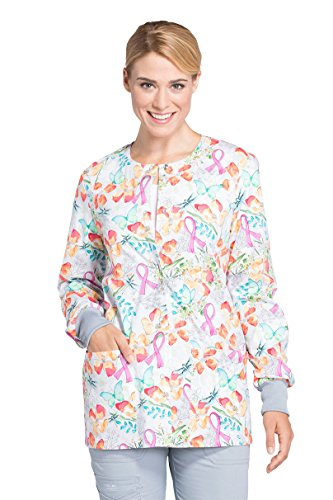 - Cherokee Breast Cancer Awareness by Women's Snap Front Warm up Floral Print Scrub Jacket XXXX-Large Print
