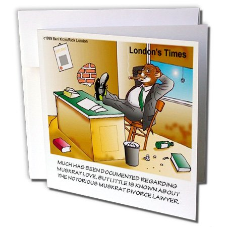 Attorney Greeting Cards - 3dRose Londons Times Funny Music Cartoons - Muskrat Divorce Attorney - 1 Greeting Card with envelope (gc_2090_5)