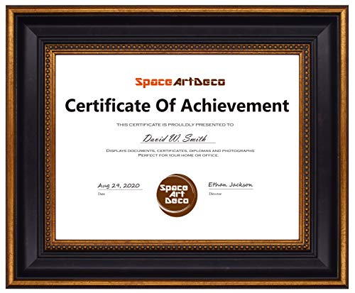 Space Art Deco, 8.5x11 Ornate Gold Frame - Certificate, Diploma, Picture Frame - Wall Mounting - Sawtooth Hangers - for Graduation, Commencement, Photographs - Glass -