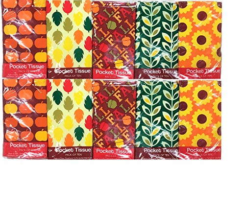 Fall Tissue - Fall Season Themed Pocket Facial Tissue with Sunflowers,Leaves,Pumpkins and Fall Wording (2-Packs) 10 Pack Each 200 Tissues