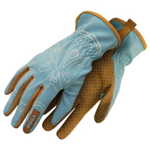 Blue//Beige Size 7 Bob Dale 70-1-575-7 Ladies Performance Garden Glove Back with Dotted Palm