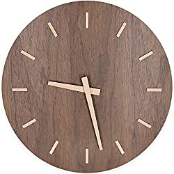 TXL 12 Large Wood Wall Clock Battery Operated Silent & Non-Ticking Quartz Desk Clock with Walnut Dial & Stereo Scale Wooden Kitchen Dining Room Office Decor Round Modern Wall Clock-Brown