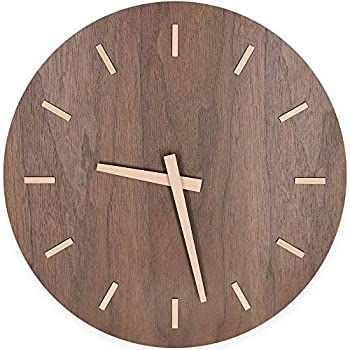 "Amazon.com: Kesin Modern Wood Wall Clock 12"" Silent Non"