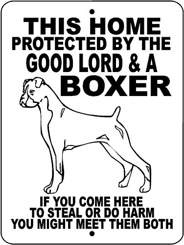 BOXER DOG SIGN 9x12 ALUMINUM ANIMALZRULE ORIGINAL DESIGN - (Any one else selling this sign is selling a CHEAP COPY)