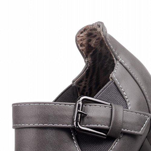 Mee Shoes Damen bequem chunky heels runder toe Pumps Grau