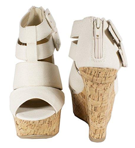 Lustacious Dame Pip Toe Strappy Bandasje Gladiator Inspirert Spenneremmer Plattform Kiler Beige Lerret Kork Kile
