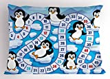 Lunarable Board Game Pillow Sham, Cute Funny Penguins Antarctica Aquatic Environment Iceberg Ocean Happy Animals, Decorative Standard Queen Size Printed Pillowcase, 30 X 20 Inches, Multicolor