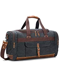 BLUBOON Canvas Genuine Leather Trim Overnight Travel Duffel Bag Weekend Tote Bag Carry on Luggage