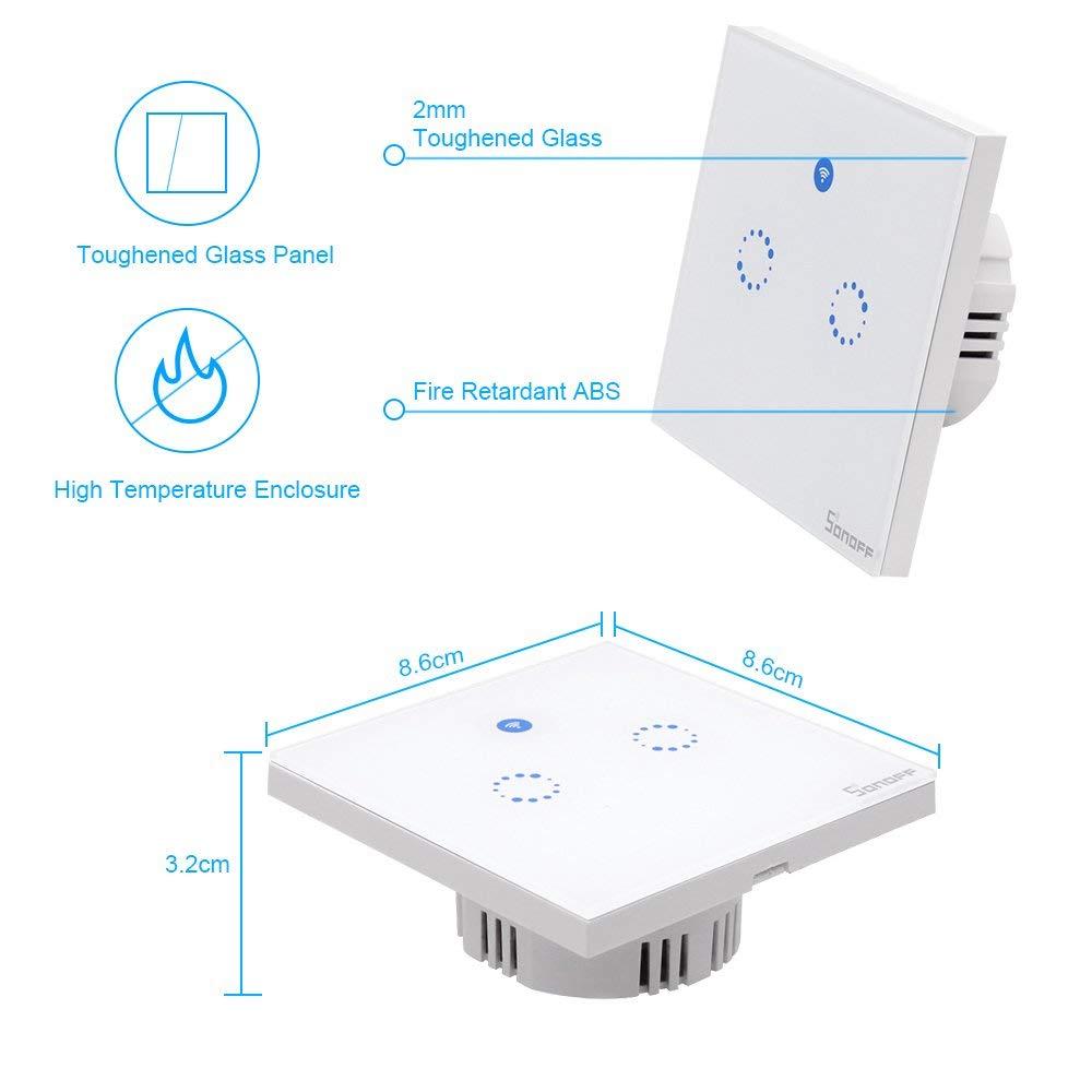 sonoff T1 EU 1gang Smart WiFi Touch Interruptor de luz de pared 86 Tipo Panel de pantalla t/áctil con control remoto inal/ámbrico compatible con Android y la aplicaci/ón IOS para Smart Home