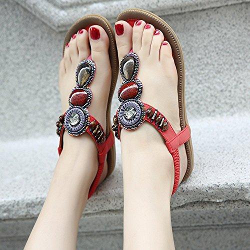 Red Wind Ethnic Colors 4 Summer Shoes Rhinestone Feifei PU Optional Flat Fashion Women's Material Sandals Bottom 0qwaZfC4