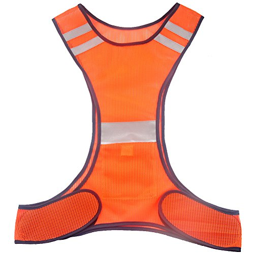 Ueasy High Visibility Running Cycling Safety Vest Reflective Vest with Reflective Stripes (Red)