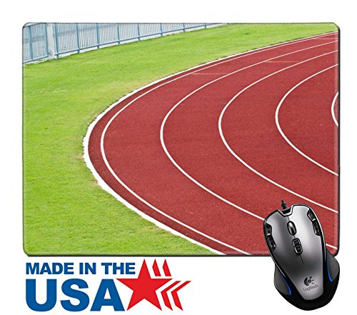 """[MSD Natural Rubber Mouse Pad/Mat with Stitched Edges 9.8"""" x 7.9"""" IMAGE ID 20885489 Curve of Race Track in Big Football Stadium] (985 Race)"""