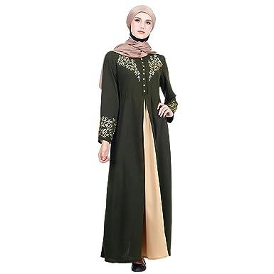 Meijunter Vestido de Mujer Musulmana - Traje con Estampado Dorado ...