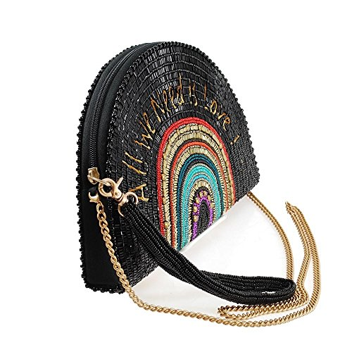 on the Frances Half Clutch Round Multi Mary Handbag Record Crossbody Beaded 165dqw