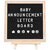 stand up shower ideas Stone's Goods Letter Board for Baby Announcement: Changeable Black Felt Letterboard for Milestones, Bridal and Baby Showers, Bonus Ebook 99 Baby Photo Ideas, 10 x 10 Inches, 290 Characters, Canvas Bag