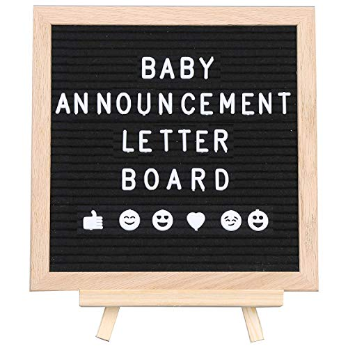 Livvy Creations Felt Letter Board Pink And Gray Double Sided With Stand And 600 Letters 10x10 American Oak Wood Changeable Message Board Pregnancy Baby Announcement Sign Changeable Letter Boards