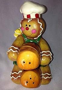 Retired Mark Roberts Gingerbread Figure Holding Bread Loaf Shaped Salt/Pepper Shakers