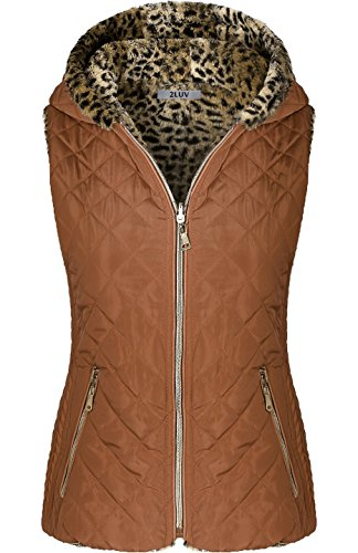 2LUV Women's Quilted Flax Fur Hooded Vest Padded Fleece Jacket with Zip Closure Light Brown M
