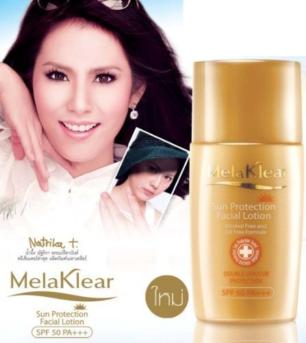 Melaklear Sun Protection Facial Lotion Alcohol Free and Oil Free Formula Double UVA/UVB Protection Reduce Melasma SPF 50 PA+++ 25 Ml.