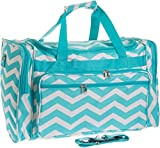 22″ Travel Duffle Bag (Light Blue & White Chevron)
