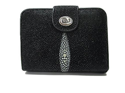 Drumsurn Imports Genuine Stingray Leather French Purse, Black