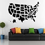 Fangeplus(TM) DIY Removable Black American USA Map Art Mural Vinyl Waterproof Wall Stickers Kids Room Decor Nursery Decal Sticker Wallpaper 40''x27.6''