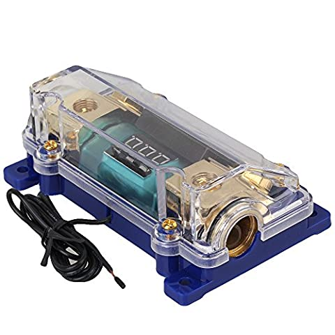WEONE 1 in and 1 out ANL Fuse Block Digital LED Dislplay Distributor Car Power Block (Car Audio Digital Fuse)