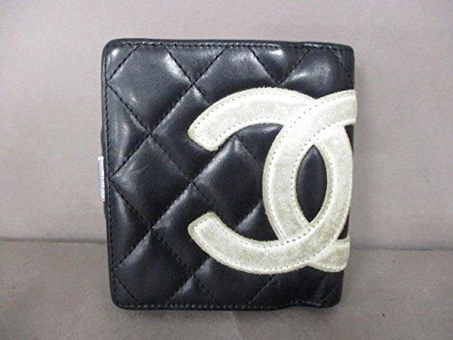 (シャネル) CHANEL 2つ折り財布 カンボンライン 黒×白 【中古】 B07F3X729T