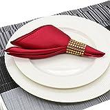 Sarvam Fashion 20'' X 20'' Satin Napkins 25 Pieces Dinner Table Napkins for Restaurant Kitchen Dining Wedding Party Banquet Events (Maroon)