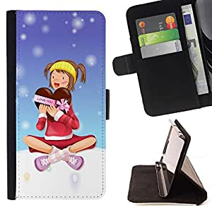 Momo Phone Case / Flip Funda de Cuero Case Cover - Chocolate Box invierno del corazón del amor Muchacha de la nieve - Huawei Ascend P8 (Not for P8 Lite)