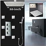 GOWE Luxury 20''20''(500mm) Square Rain Shower Head Faucet Ceiling Mounted Shower Sprayer Massage Jets Hand Unit