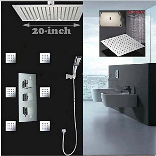 GOWE Luxury 20''20''(500mm) Square Rain Shower Head Faucet Ceiling Mounted Shower Sprayer Massage Jets Hand Unit by Gowe