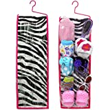 Doll Storage Hanging Accessory Bag for 18 Inch Dolls, Perfect Zebra Accessory for Doll Shoes, Hair Brush and Accessories | Doll Sized
