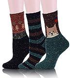 Womens Girls Wool Novelty Socks Cabin Cute Animal Cartoon Funny Casual Soft Cotton Socks 3 Pack (Cat-D)